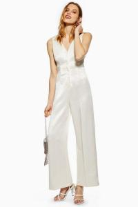 Topshop Satin Twill Jumpsuit in Ivory | party jumpsuits