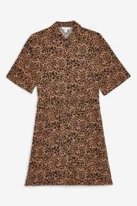 TOPSHOP Self Belt Animal Shirt Dress Tan