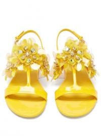 PRADA Sequinned leather slingback sandals in yellow | floral summer flats