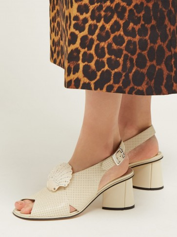GUCCI Shell-embellished leather slingback sandals in off-white ~ vintage style slingbacks
