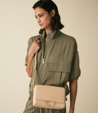 REISS SHERWAY LEATHER CROSS BODY BAG TAUPE ~ everyday luxe