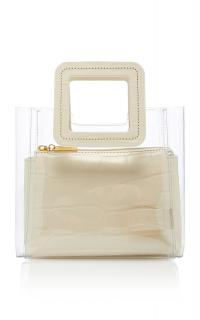 Staud Shirley Mini Croc-Effect Leather Bag in white | small luxe style handbag