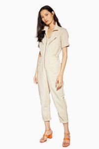 TOPSHOP Short Sleeve Boiler Suit Ecru. UTILITY JUMPSUIT