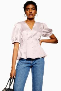 TOPSHOP Short Sleeve Button Down Top Mauve / silky vintage look blouse