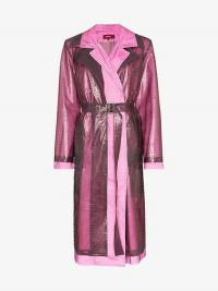 Sies Marjan Double Layered Croc-Effect Trench in pink and purple
