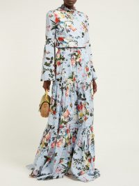 ERDEM Sigrid tiered floral-print cotton maxi skirt | Matches Fashion | Crafted in England | Erdem's romantic blue cotton-poplin Sigrid maxi skirt features slender horizontal stripes juxtaposed by painterly flowers