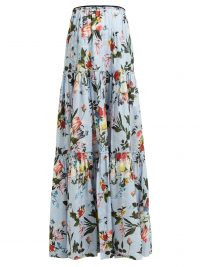ERDEM Sigrid tiered floral-print cotton maxi skirt in blue