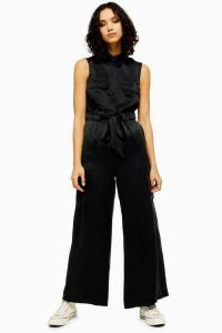 Topshop Boutique Silk Utility Jumpsuit in black | luxe utilitarian fashion | sleeveless waist tie jumpsuits