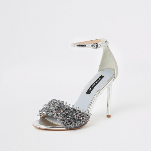 River Island Silver beaded slim heel sandals | luxe look party heels