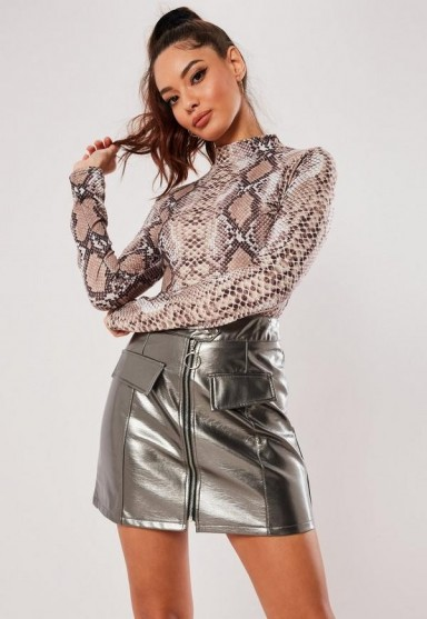 MISSGUIDED silver metallic faux leather mini skirt