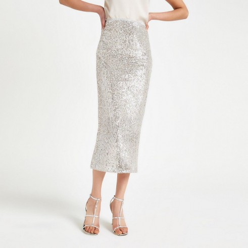 River Island Silver sequin embellished pencil skirt | evening glamour | sequinned skirts