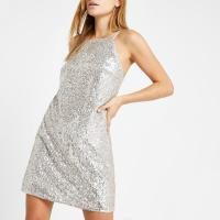 RIVER ISLAND Silver sequin swing dress / shiny party dresses