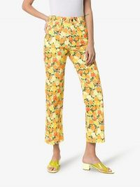 Simon Miller Winter Blossom Cotton Cropped Trousers in yellow, orange and green | retro prints / colours