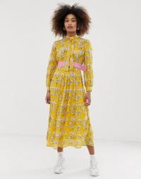 Sister Jane belted midi dress with pleated skirt in bright vintage floral in yellow | retro dresses