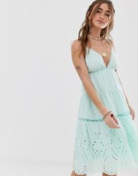 Sisters Of The Tribe tiered cami midi dress in mint green | festival slip dresses