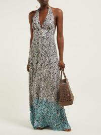 HEIDI KLEIN Snake-print halterneck maxi dress ~ summer vacation halter dresses