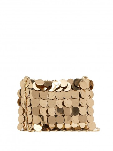 PACO RABANNE Sparkle 1969 embellished shoulder bag in gold ~ vintage style glamour
