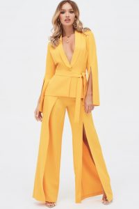 LAVISH ALICE split sleeve shawl collar belted jacket in golden yellow – evening glamour