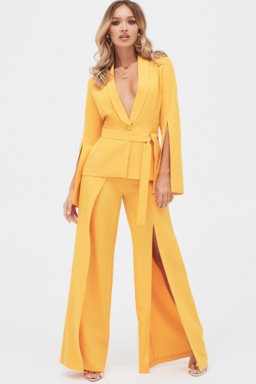 LAVISH ALICE split sleeve shawl collar belted jacket in golden yellow – evening glamour