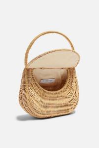 Topshop SPLIT Wicker Straw Mini Grab Bag in Natural | small summer flap bags