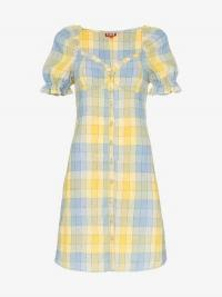 Staud Check Button Front Dress in yellow and blue / checked summer dresses