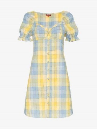 Staud Check Button Front Dress in yellow and blue / checked summer dresses - flipped