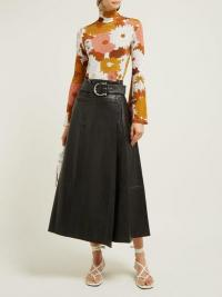 DODO BAR OR Stella horsebit-buckle leather midi skirt in black ~ A-line wrap skirts