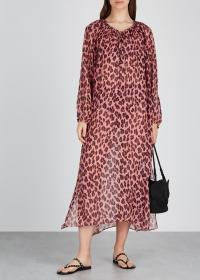 STELLA MCCARTNEY Ballet leopard-print silk kaftan ~ pink and purple animal print kaftans ~ vacation cover-up