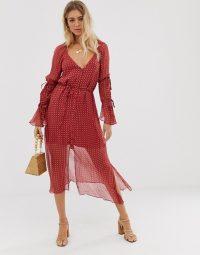 Stevie May Stella midi dress in Celest dust | red semi sheer dresses | Deep V-neckline