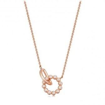 ASTLEY CLARKE Stilla Arc Interlocking Pendant Necklace 18 karat rose gold vermeil / small white sapphire pendants - flipped