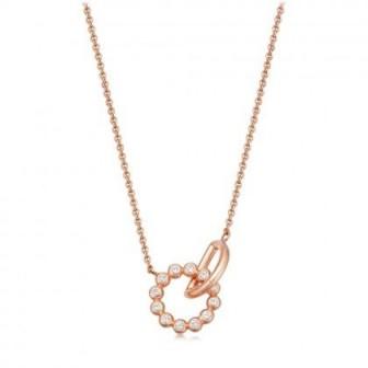 ASTLEY CLARKE Stilla Arc Interlocking Pendant Necklace 18 karat rose gold vermeil / small white sapphire pendants