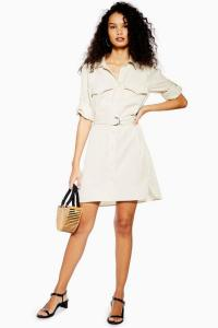TOPSHOP Stone Utility Shirt Mini Dress. BELTED UTILITARIAN DRESSES