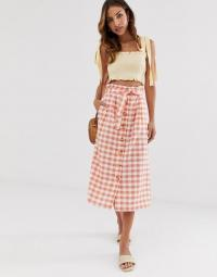 Stradivarius gingham rustic skirt in pink / checked summer skirts
