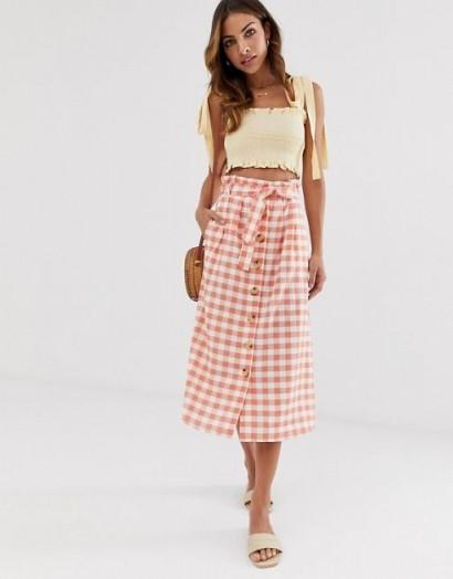 Stradivarius gingham rustic skirt in pink / checked summer skirts