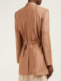 CHLOÉ Stretch-twill longline blazer in rust-brown ~ back belted jacket