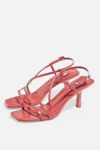 Topshop STRIPPY Heeled Sandals in Coral | vintage look strappy slingbacks