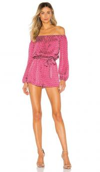 superdown Alessandra Romper in Pink Polka Dot | off the shoulder rompers | party playsuit