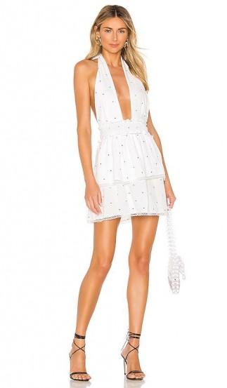 superdown Emilia Mini Dress in White Polka Dot | plunge front halter dresses