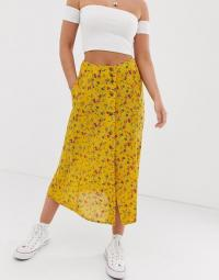 Superdry floral maxi skirt in buttercup | yellow front button-through summer skirts