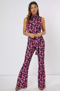 SUZANNE JACKSON BLACK FLORAL HIGH NECK WIDE LEG JUMPSUIT – sleeveless jumpsuits