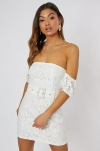 SUZANNE JACKSON WHITE LACE PUFF SLEEVE BARDOT MINI DRESS – off the shoulder