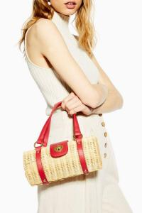 TOPSHOP SYDNEY Straw Bowler Bag in Natural. SMALL BAGS