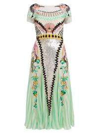 TEMPERLEY LONDON Talia sequin and striped midi dress in green ~ luxe event dresses