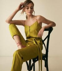 REISS TANIA BUTTON DETAIL JUMPSUIT GREEN ~ skinny strap jumpsuits