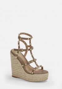 MISSGUIDED taupe dome stud wedges ~ strappy high heels summer wedges