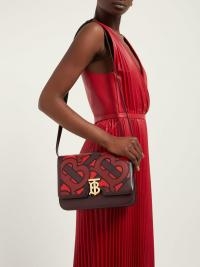 BURBERRY TB medium monogram-appliqué leather cross-body bag in burgundy