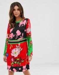 Ted Baker Yanna tunic dress in berry sundae print in red. MULTI FLORALS