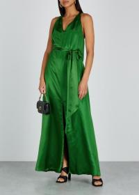 TEMPERLEY Darling emerald green satin maxi dress ~ long luxe dresses