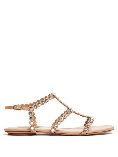 AQUAZZURA Tequila crystal-embellished T-bar leather sandals in beige | luxe summer flats