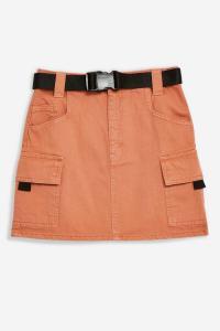 Topshop Teracotta Denim Clip Mini Skirt | dark-orange utility skirts
